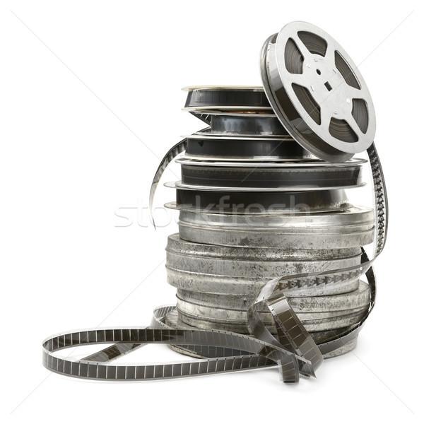 Oude filmstrip geïsoleerd witte film achtergrond Stockfoto © serg64