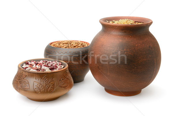 Beans, rice and lentils in pots Stock photo © serg64