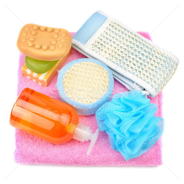 Asciugamano sapone shampoo spugna isolato bianco Foto d'archivio © Serg64