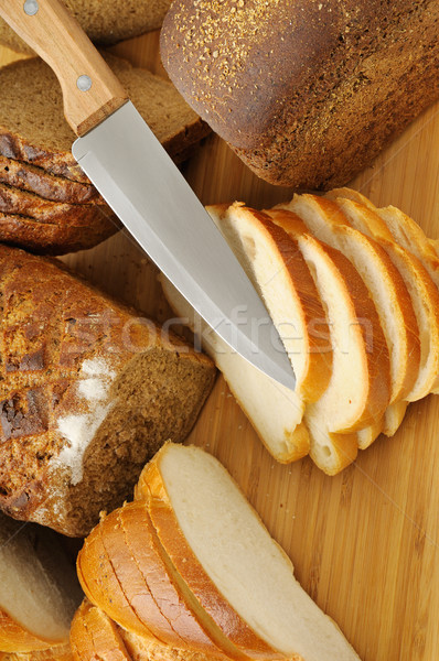 cut bread and knife Stock photo © serg64