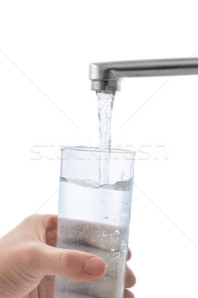 água vidro isolado branco mão fundo Foto stock © Serg64
