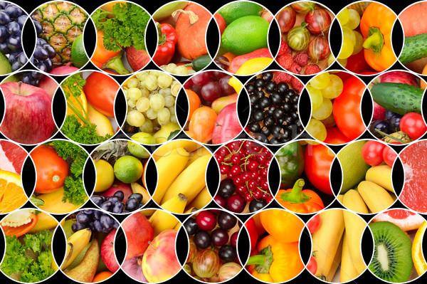 Kollázs friss gyümölcsök zöldségek hasznos termékek Stock fotó © serg64
