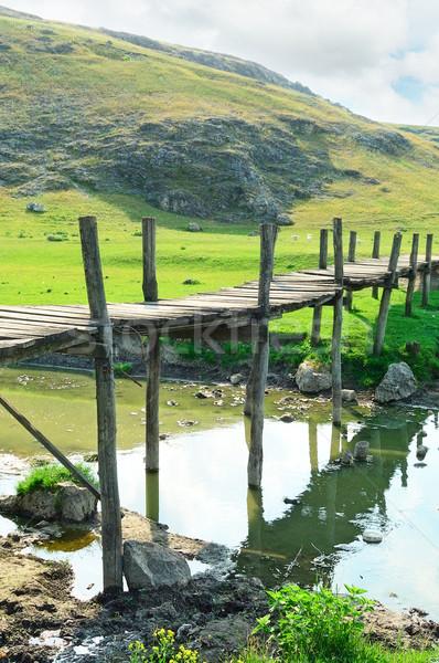 Stok fotoğraf: Eski · ahşap · köprü · nehir · su · ağaç