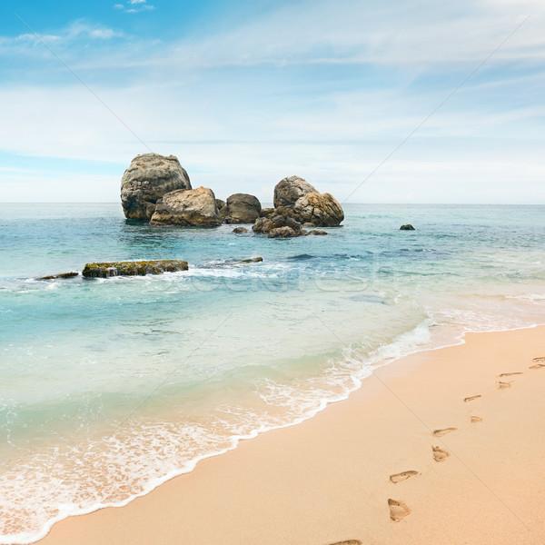 Grande rocha oceano praia céu nuvens Foto stock © serg64