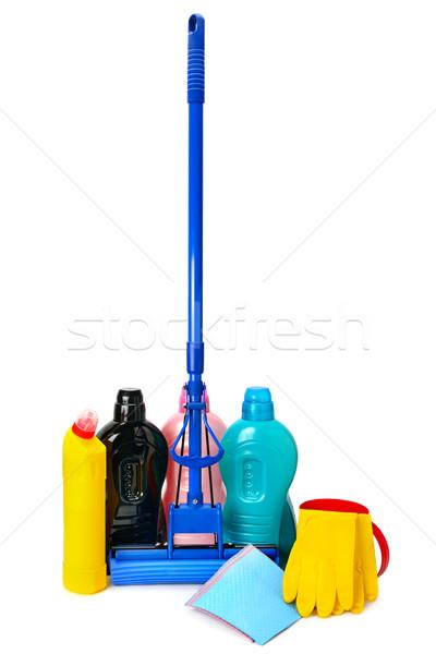şişeler deterjan lastik eldiven yalıtılmış beyaz arka plan Stok fotoğraf © Serg64