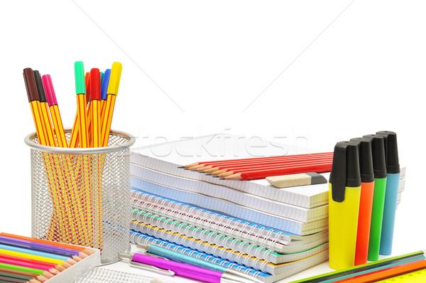 Artigos de papelaria isolado branco escolas caneta pintar Foto stock © Serg64