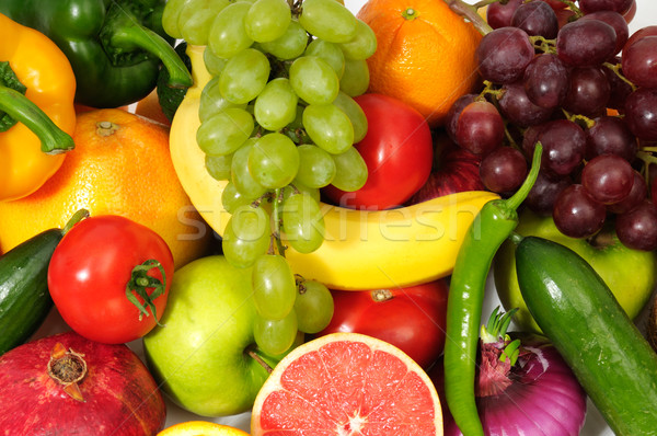 Foto stock: Fresco · frutas · legumes · isolado · branco · fundo