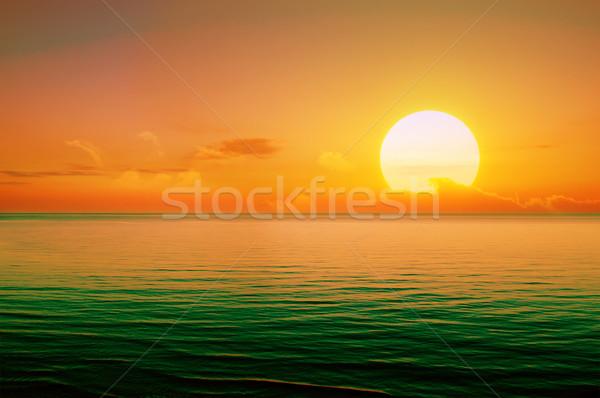 Mooie zonsondergang boven zee hemel wolken Stockfoto © Serg64