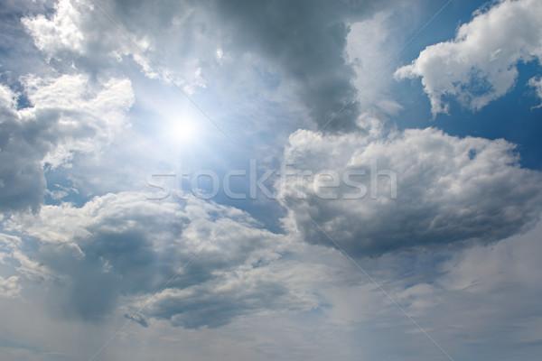 Zon blauwe hemel wolken natuur achtergrond schoonheid Stockfoto © serg64