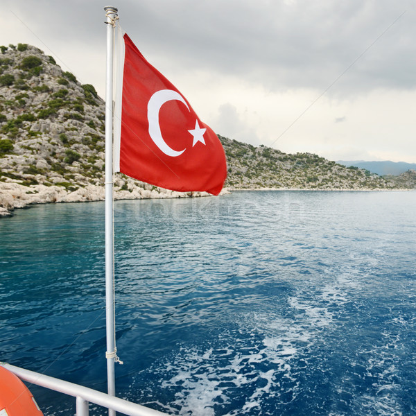 Turkish flag on a background of sea and sky Stock photo © serg64