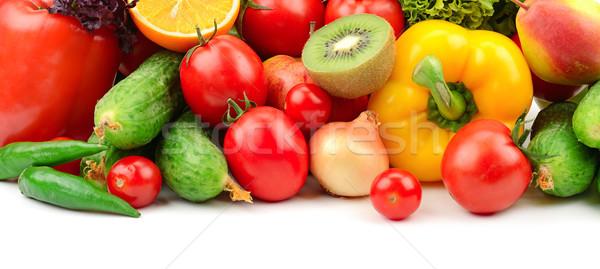 Gyümölcsök zöldségek izolált fehér levél banán Stock fotó © serg64