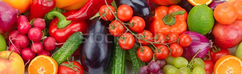 Vers fruit plantaardige achtergrond groene Rood vruchten Stockfoto © serg64
