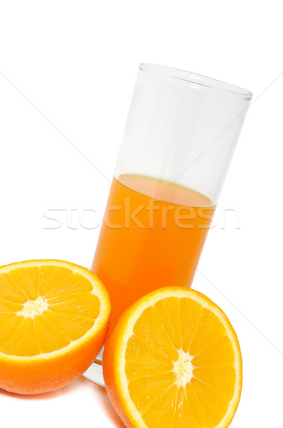 Glass with juice and orange Stock photo © Serg64