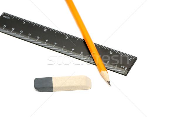 карандашей Eraser правителя белый школы работу Сток-фото © Serg64