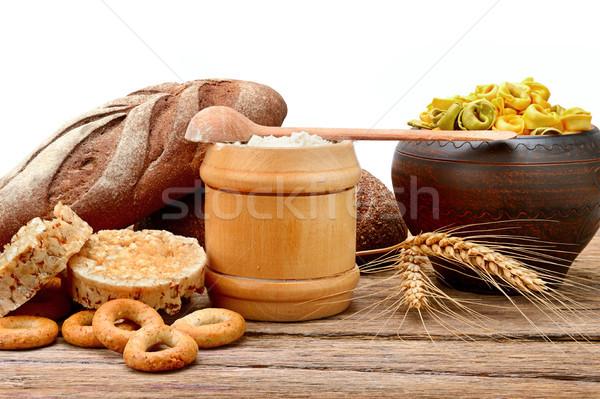 Stok fotoğraf: Gıda · ürünleri · buğday · yalıtılmış · beyaz · ahşap