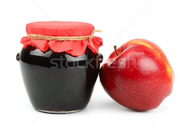 Red apple and pot of jam Stock photo © Serg64