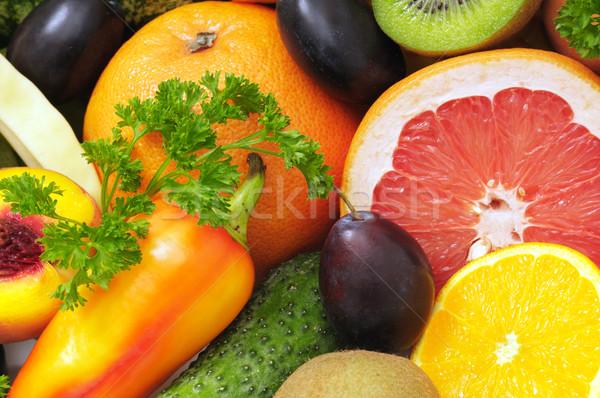 Taze meyve arka plan alışveriş turuncu yeşil meyve Stok fotoğraf © Serg64