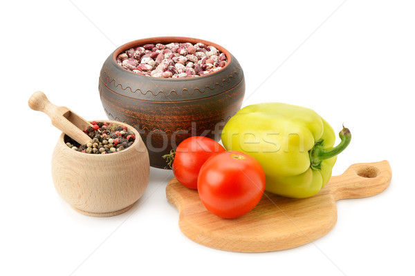 beans in pot and vegetables Stock photo © serg64