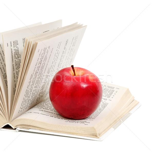 Kırmızı elma kitap yalıtılmış beyaz kâğıt okul Stok fotoğraf © serg64