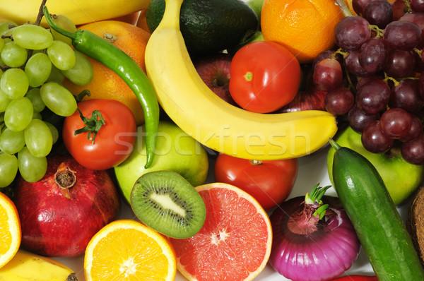 Fruits frais fond orange vert rouge fruits Photo stock © Serg64