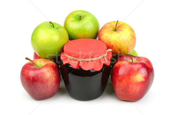 Red apples and pot of jam Stock photo © Serg64