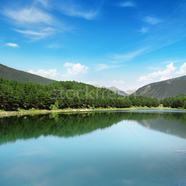 Stock fotó: Gyönyörű · tó · hegyek · víz · fű · erdő
