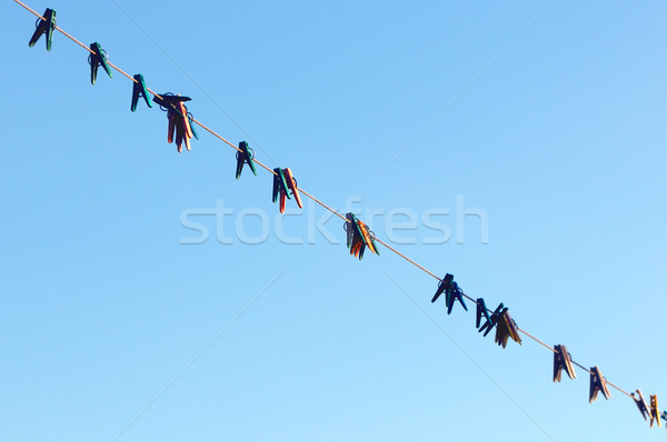 Prendedor de roupa nuvens madeira fundo espaço Foto stock © Serg64