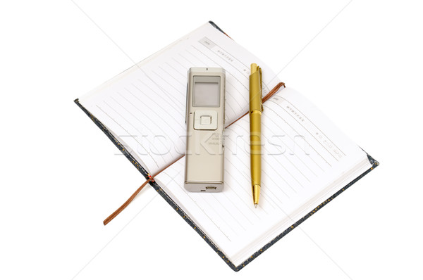 Dictaphone, notepad and ballpen Stock photo © Serg64