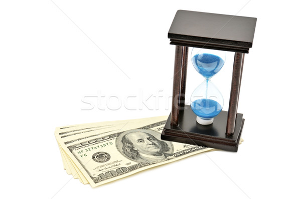 sand-glass and dollar. Concept - time is money Stock photo © Serg64