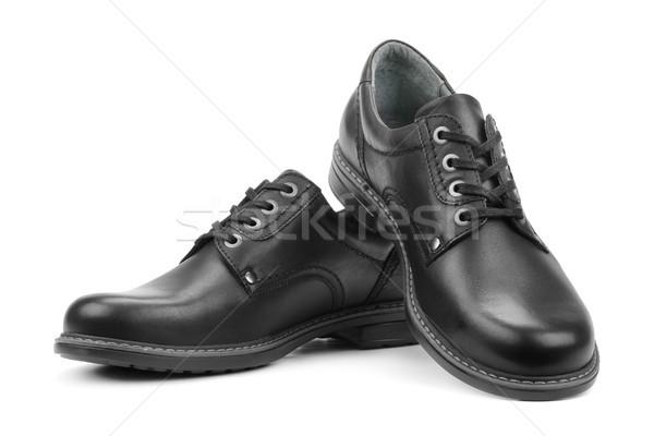 Zwarte schoenen geïsoleerd witte ontwerp winkelen Stockfoto © serg64