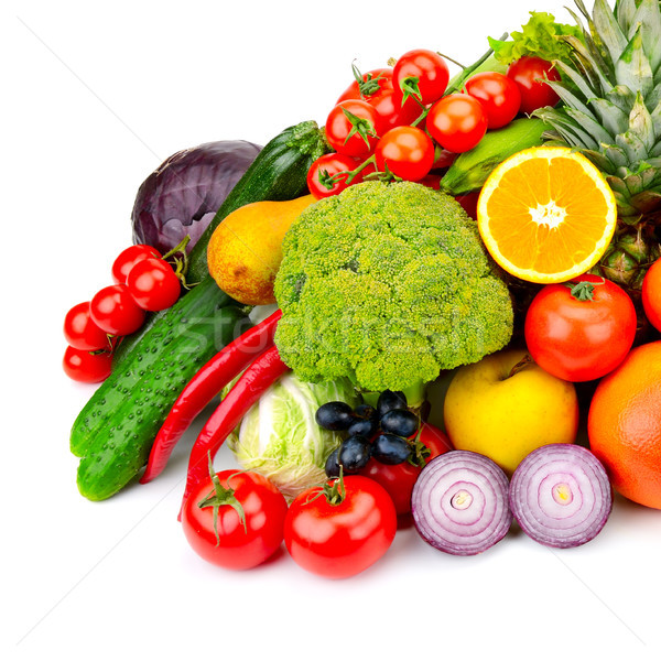 The composition of fresh fruits and vegetables. Isolated on whit Stock photo © serg64