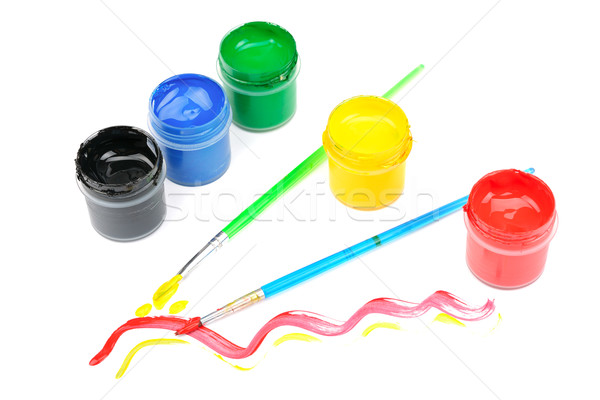 watercolor paint and brush Stock photo © Serg64