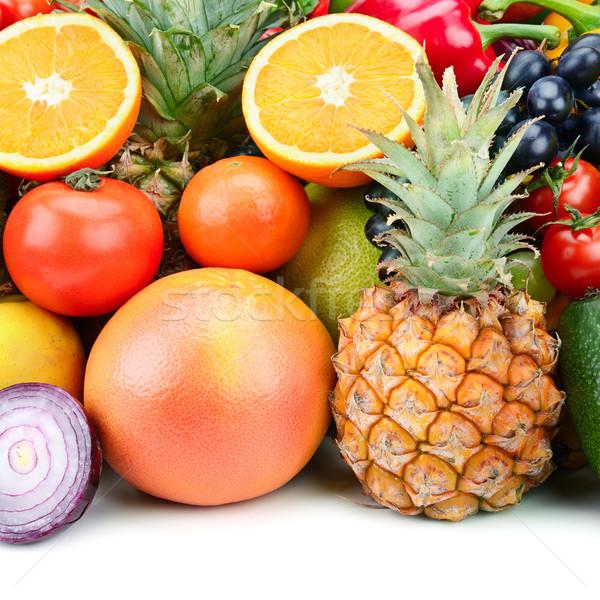 Conjunto fruto vegetal comida fundo verde Foto stock © serg64