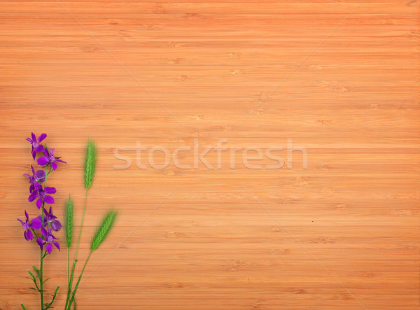 Delphinium flower on a wooden background. Free space for text. Stock photo © serg64