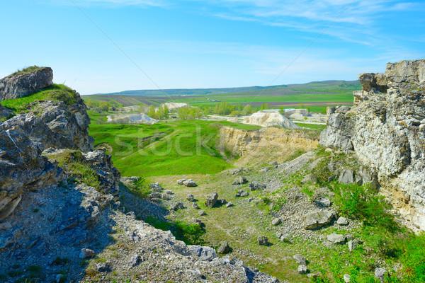 Verlaten kalksteen mijnbouw bouw landschap aarde Stockfoto © serg64