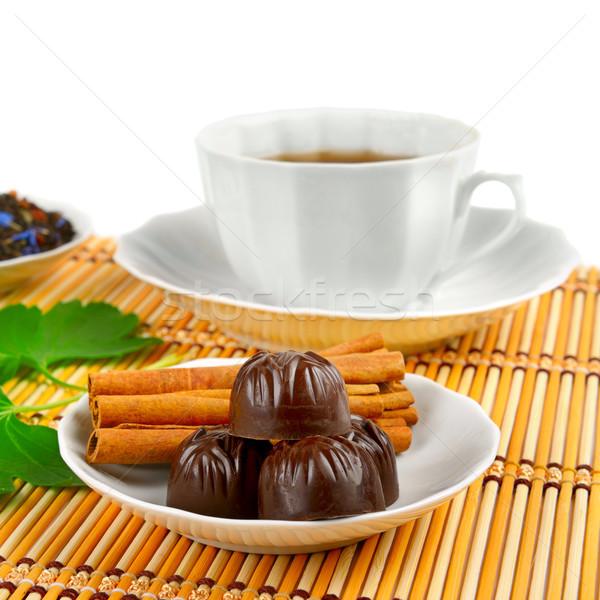 茶碗 シナモン 竹 白 ガラス チョコレート ストックフォト © serg64