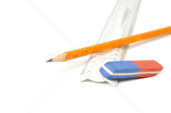карандашей Eraser правителя изолированный белый древесины Сток-фото © Serg64