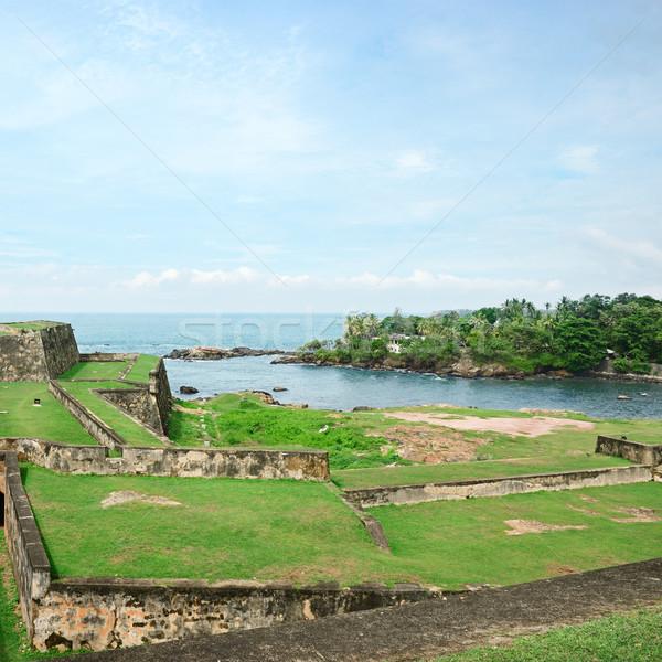Erőd Sri Lanka tengerpart víz ház fű Stock fotó © serg64