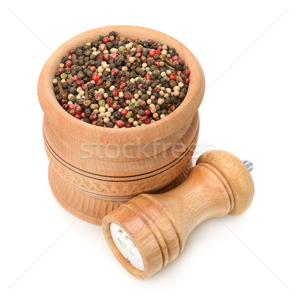 assortment of spices in wooden pot and mill Stock photo © serg64