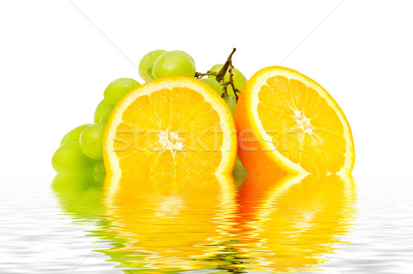 orange and grape reflected in water Stock photo © serg64