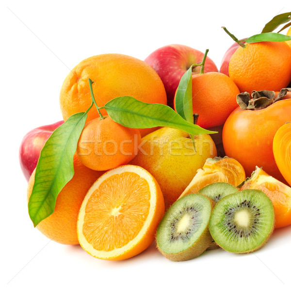 Taze meyve meyve yalıtılmış beyaz gıda yaprak Stok fotoğraf © serg64