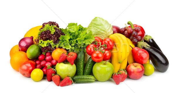 Gyűjtemény friss gyümölcsök zöldségek izolált fehér Stock fotó © serg64