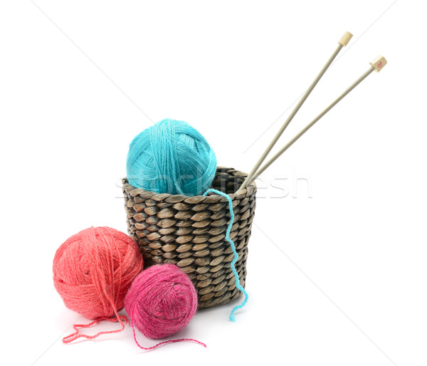 Multicolored balls and needles in basket Stock photo © Serg64