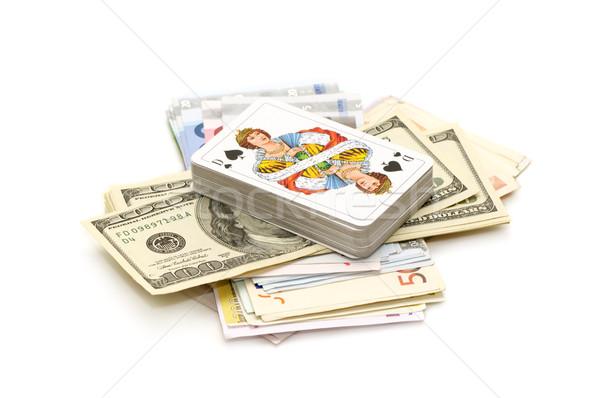 Para iskambil kartları yalıtılmış beyaz banka başarı Stok fotoğraf © Serg64