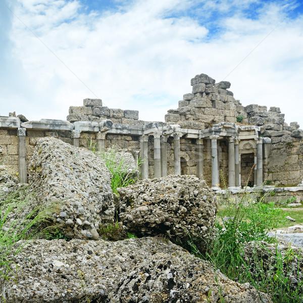 Stock fotó: ősi · romok · fű · természet · tájkép · ablak