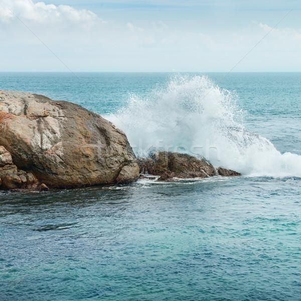 рок океана большой волны пляж небе Сток-фото © serg64