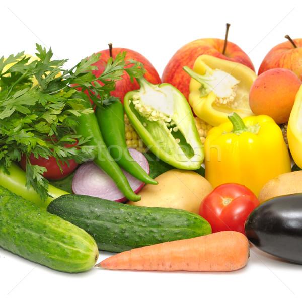 Legumes frutas isolado branco fundo verde Foto stock © Serg64