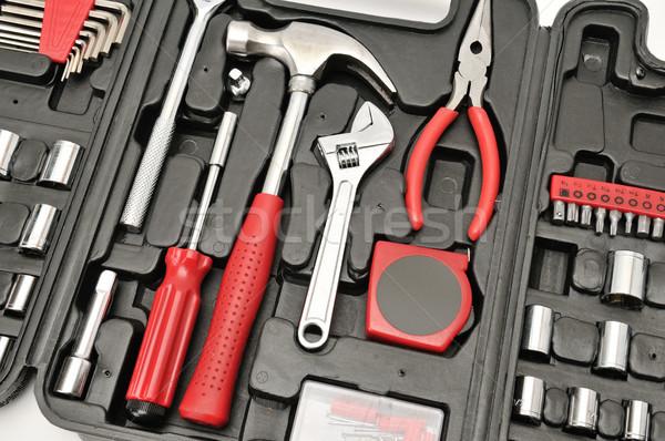 Conjunto ferramentas caixa construção trabalhar tecnologia Foto stock © serg64