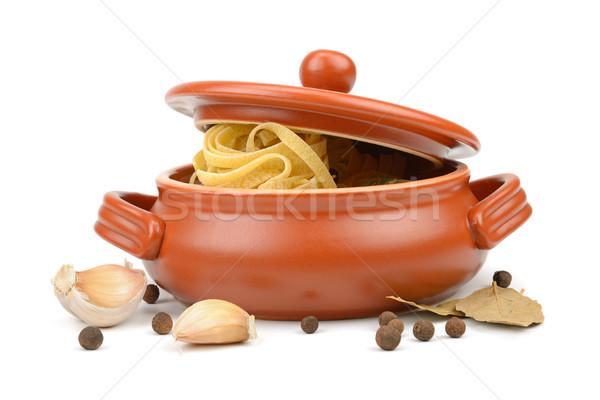 Foto stock: Espaguete · argila · pote · isolado · branco · comida