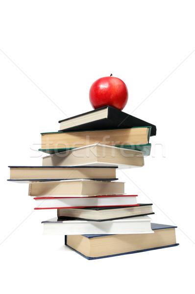 Manzana roja libro aislado blanco papel escuela Foto stock © Serg64